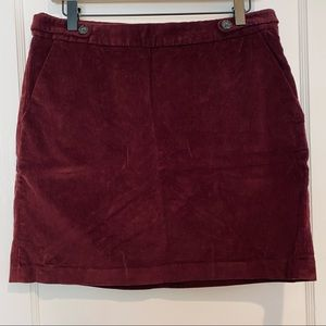 Banana Republic Burgundy Corduroy Mini Skirt